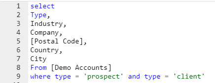 example of a simple SQL query created in Salesforce Marketing Cloud